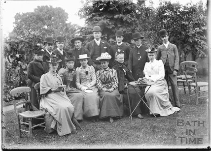 Garden picnic with Beatrice Augusta Corbet extreme left, c.1905