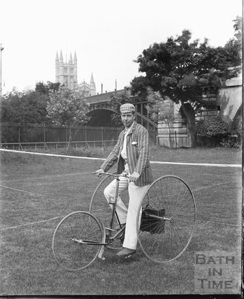 Gentleman on a tricycle, Bath Cricket Ground c.1910
