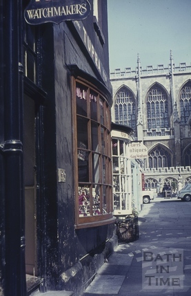 Bow fronted shops, Abbey Street, Bath 1960s