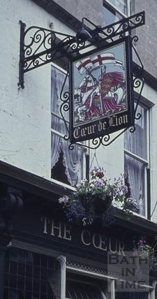 Pub sign, The Cœur de Lion, 17, Northumberland Place, Bath 1960s