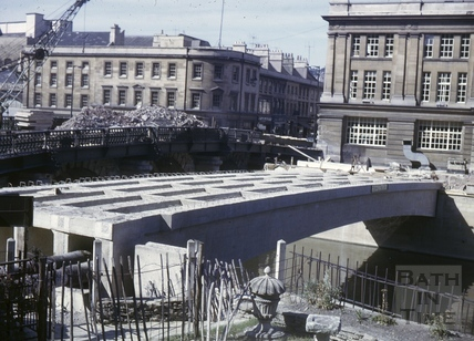 Churchill Bridge construction, Bath 1965