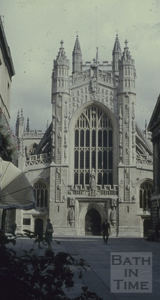 West front of Bath Abbey after stone cleaning, Bath 1960s