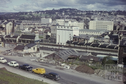 A view across the Wells Road to the changing Avon Street area north of the river, Bath c.1965