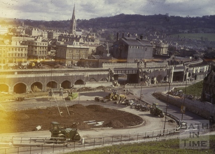 Constructing the roundabout at the bottom of the Wells Road, Bath c.1965