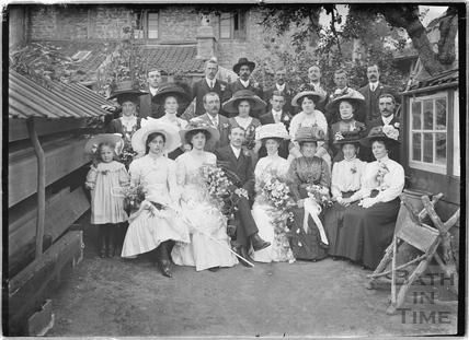 Wedding group in the back garden of the Bences, Avon House, Batheaston 1910