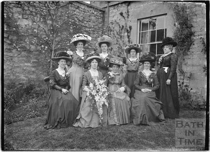 The photographer's wedding party in the back garden of the Bences, Avon House, Batheaston 1910