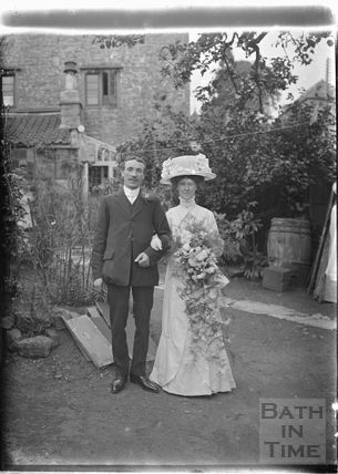 Wedding couple in the back garden of the Bences, Avon House, Batheaston 1910