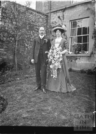 The photographer and his bride in the back garden of the Bences, Avon House, Batheaston 1910