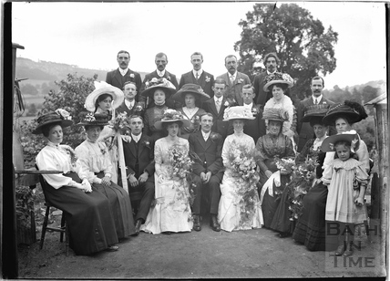 Wedding group in the back garden of the Bences, Avon House, Batheaston 1910