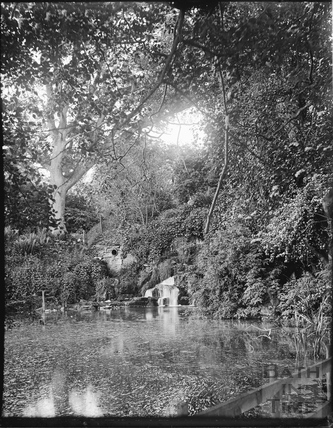 Waterfall and lake, Stourhead, Somerset c.1910s