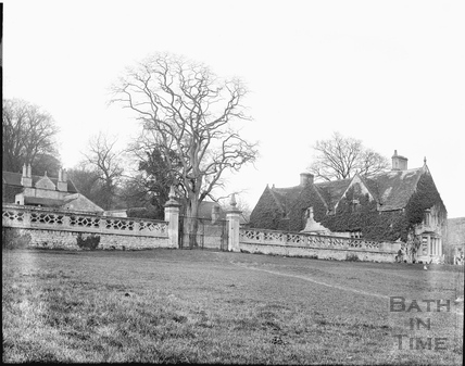 The steps and balustrade leading to the demolished old Claverton Manor c.1920s