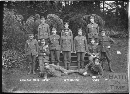 Officer's Mess Staff, 12th Hants Bath No.34 c. April 1915