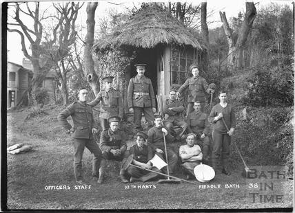 Officer's Staff, Fiesole, Bathwick Hill, 12th Hants Bath No.38 c. April 1915