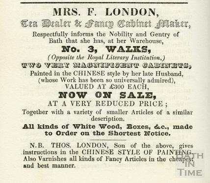 Advertisement from Mrs. F. London, Tea Dealer & Fancy CabinetMaker 1937