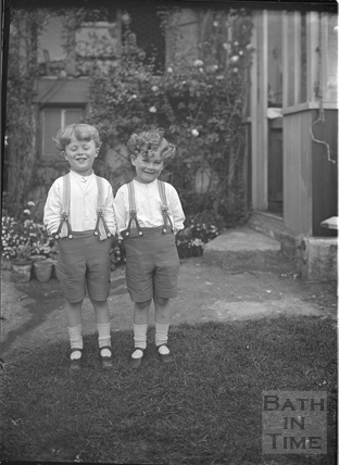The photographer's twin boys in the back garden of 32 Sydney Buildings c.1916