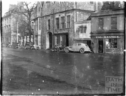 Vic Anstice motorcycle shop, next door to Abbey Church House c.1950