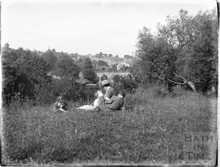 The photographer's wife and twin boys, Bradford-on-Avon c.1923