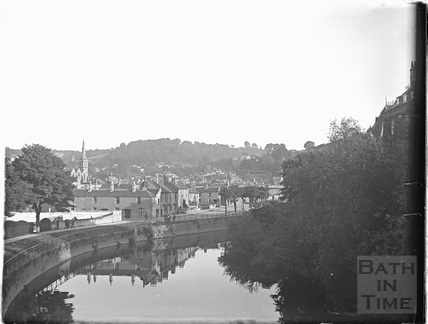View from North Parade Bridge looking towards Widcombe and the Dolemeads c.1910
