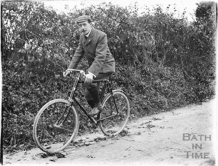 Self-Portrait on bicycle at Dry Arch, Warminster Road, Bathampton c.1905