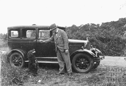 The photographer, his dog and car c.1920s