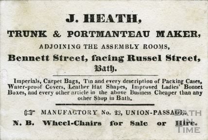J Heath, trunk & portmanteau maker, adjoining Assembly Rooms facing Russel Street c.1840s