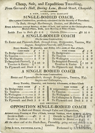 Coach timetable for cheap, safe and expeditious travelling, c.1840