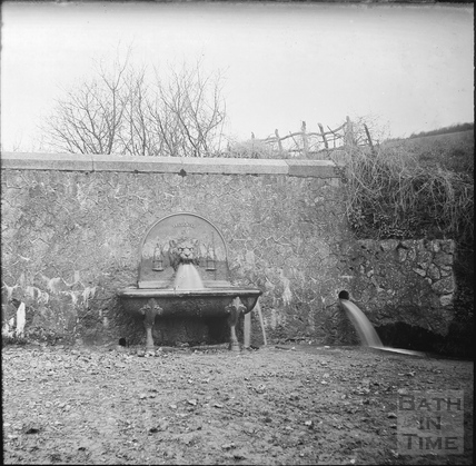 Selborne villange water spring with lion head, c.1880s