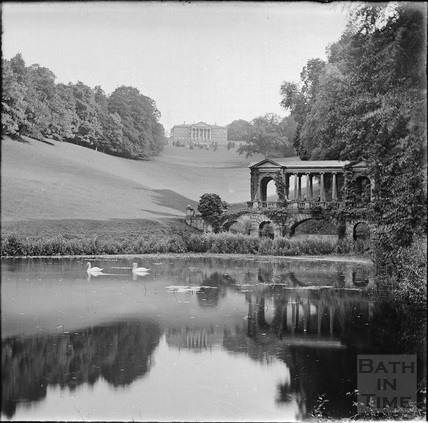 The Palladian Bridge with swans in the fishponds and Prior Park c.1890s