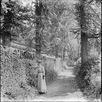 Lady posing by large wall in unidentified wooded location c.1890s