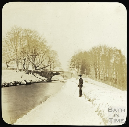 Snowy scene on the Kennet and Avon Canal, Bathampton c.1890