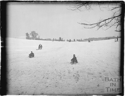 Tobogganing in Bathwick in the fields behind Sydney Buildings c.1920s