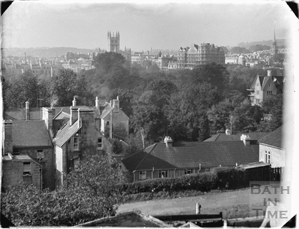 View towards Bath Abbey from Sydney Buildings c.1920s