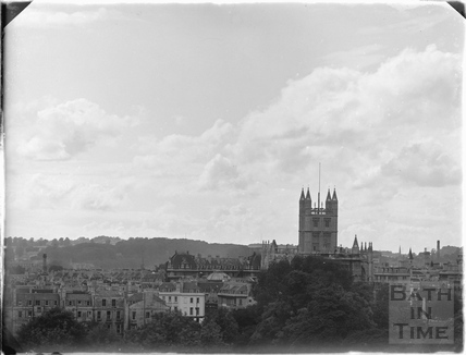 Twilight cloud study and view of Bath Abbey from Sydney Buildings c.1920s