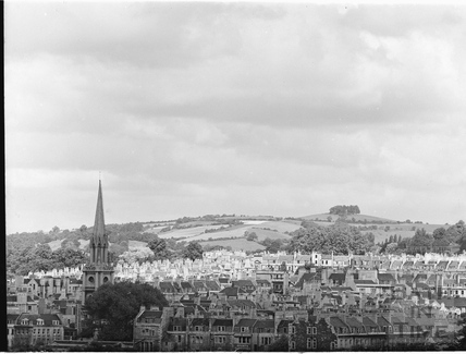 St Michaels church and view looking north west towards Kelston Round Hill c.1930s