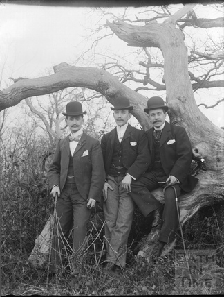 Three smartly dressed young men in bowler hats c.1900s
