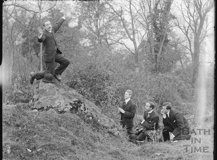 Four young men clowning around, Bathampton Rocks? c.1900s