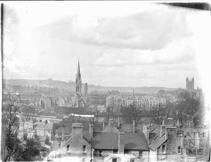 View of St Johns and the burnt out St James Church c.1950s