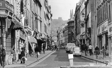 View up Westgate Street from Kingsmead Square, 1 May 1974
