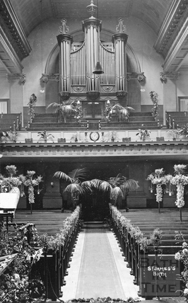 Interior of St James's Church and organ, Bath c.1920s