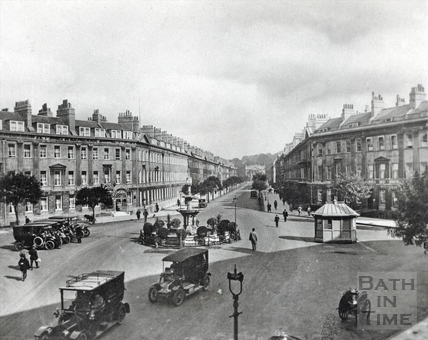 Taxis at Laura Place, Great Pulteney Street c.1910
