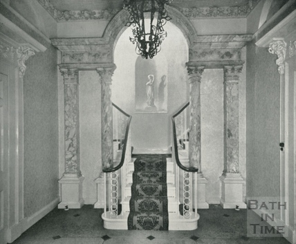 The marble reredos, removed from Bath Abbey and installed in the hall of Grosvenor Villa, Lansdown, 1954