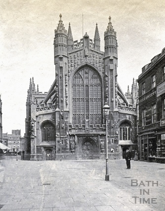 View of Bath Abbey west front from Abbey Churchyard c.1870?
