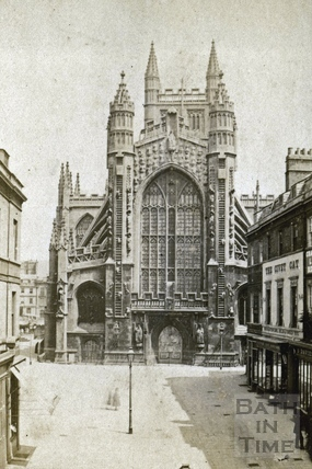 West front of Bath Abbey from Abbey Church Yard, Bath c.1870