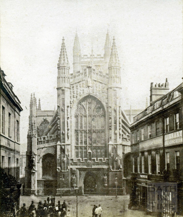 Bath Abbey, west view and Abbey Churchyard c.1870