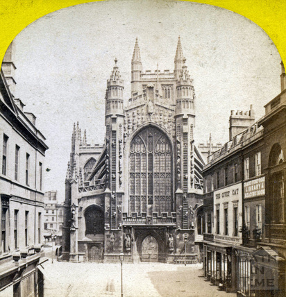West front of Bath Abbey and Abbey Church Yard, Bath c.1870