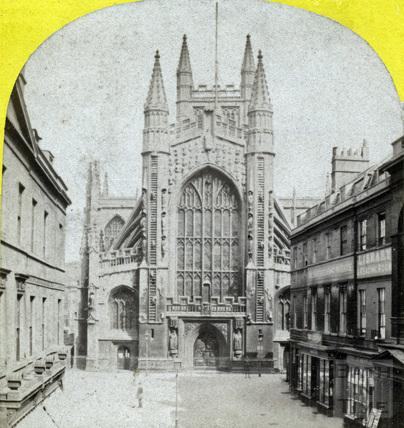 West front of Bath Abbey and Abbey Church Yard, Bath c.1863