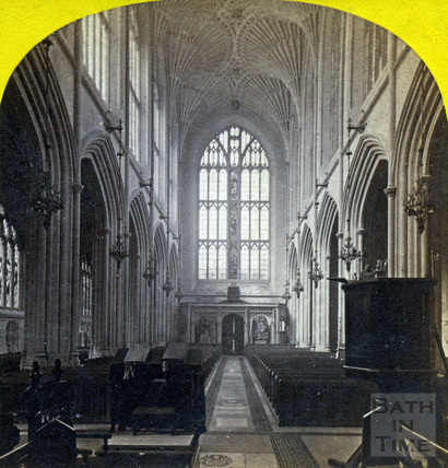 The ceiling and aisle, Bath Abbey, Bath c.1870