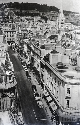 View up Union Street, Bath, late 1960s