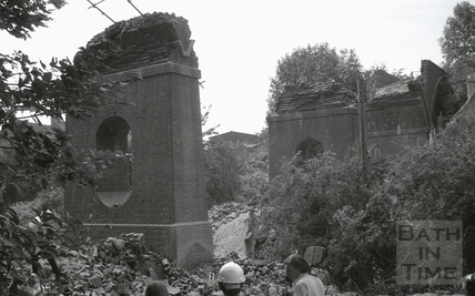 The demolition of Dunkerton Viaduct 20 July 1981