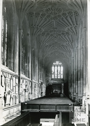 The south aisle looking west, Bath Abbey c.1894